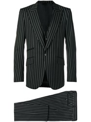 Dolce And Gabbana Pinstriped Three Piece Suit Black