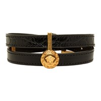 Versace Black And Gold Tribute Double Wrap Bracelet