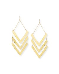 Devon Leigh Hammered Triple Wedge Statement Earrings Gold