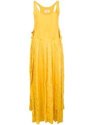 Ports 1961 Pleated Asymmetric Hem Dress Yellow And Orange