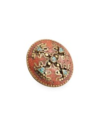 Devon Leigh Antiqued Turquoise And Coral Statement Ring Adjustable Size