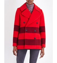 Rag And Bone Skye Contrast Stripe Wool Peacoat Fiery Red