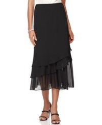 Alex Evenings Petite Skirt Tiered Chiffon Tea Length Black