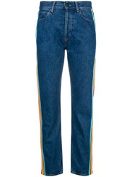 Palm Angels High Waist Striped Jeans Blue
