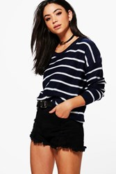 Boohoo Nautical Stripe Jumper Navy