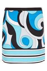 Michael Michael Kors Printed Stretch Cotton Mini Skirt Blue