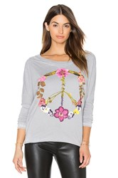 Chaser Wild Flower Peace Tee In Gray
