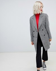 New Look Tailored Coat In Hounds Tooth Black Pattern