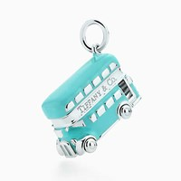 Tiffany And Co. Double Decker Bus Charm In Sterling Silver With Blue Enamel Finish.