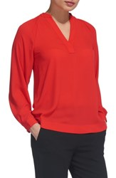 Whistles Catalina V Neck Top Red