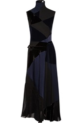 Victoria Beckham Patchwork Corduroy Duchesse Silk Satin And Velvet Dress