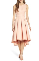 Lulus Women's Cutout Back Tea Length High Low Dress Blush