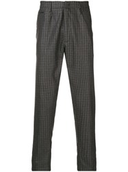 Dondup Check Pattern Chinos Grey