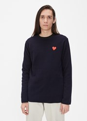 Comme Des Garcons Red Heart Crew Neck Sweater Navy