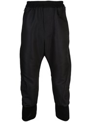 Julius Cropped Tailored Track Trousers Black