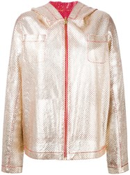 Furs66 Peforated Hooded Jacket Metallic