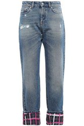 Versus By Versace Woman Cropped Paneled Distressed Mid Rise Straight Leg Jeans Mid Denim