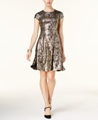 Alfani Petite Printed Fit And Flare Dress Created For Macy's Deep Black