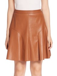 Rebecca Taylor Solid Flared Skirt Cognac