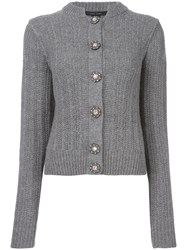 Marc Jacobs Embellished Button Cardigan Grey
