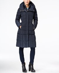 Cole Haan Hooded Long Down Puffer Coat With Vestee Navy