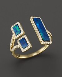 Meira T Yellow Gold Opal Double Bar Open Ring