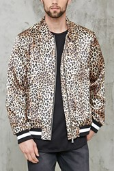 Forever 21 Savage Leopard Satin Jacket Gold Black