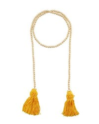 Kenneth Jay Lane Beaded Rope Necklace W Tassel Ends Gold