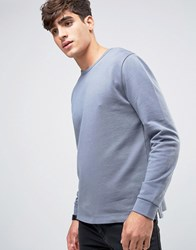 Asos Sweatshirt With Fixed Hem In Light Blue Blue
