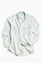 Cheap Monday Conduct Destroyed Denim Button Down Shirt Light Blue