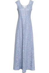 Mikael Aghal Woman Corded Lace Maxi Dress Light Blue