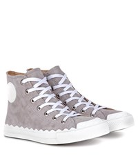 Chloe Kyle High Top Suede Sneakers Grey