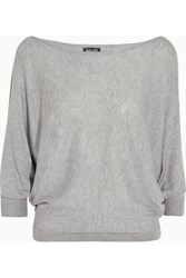Splendid Bailey Cutout Stretch Knit Top Light Gray