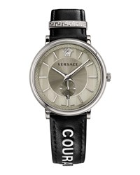 Versace 42Mm Manifesto Watch With Black Courage Leather Strap Silver