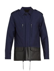 Berluti Contrast Leather Panel Cotton Blend Jacket Navy
