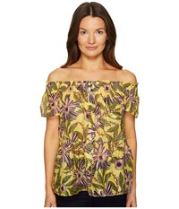 Red Valentino Passion Flower Silk Cotton Top Limone Women's Clothing Yellow