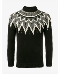 Saint Laurent Sequin Embellished Intarsia Knit Wool Jumper Black Grey White Silver