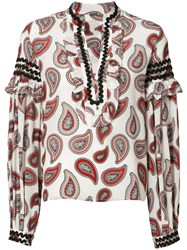 Dodo Bar Or Paisley Print Boho Blouse Women Silk 44 White
