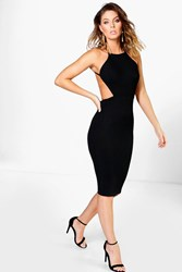 Boohoo Ribbed Open Back Detail Midi Bodycon Dress Black