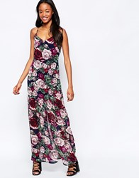Daisy Street Maxi Dress In Rose Print Black