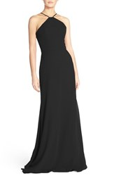 Women's Hayley Paige Occasions Strappy V Back Chiffon Halter Gown