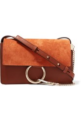 Chloe Faye Small Leather And Suede Shoulder Bag Brown