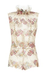 Luisa Beccaria Floral Embroidered Sleeveless Bodysuit