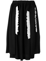 Comme Des Garcons Ruffled Applique Gathered Skirt Women Cotton Wool M Black