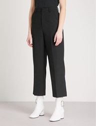 Moandco. Wide Leg Straight High Rise Wool Blend Trousers Black