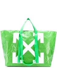Off White Arrows Print Oversized Tote Green