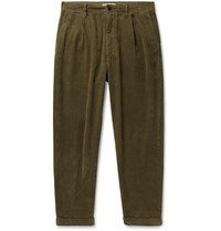 Alex Mill Tapered Pleated Cotton Corduroy Trousers Green