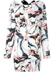 Marni Marble Print Dress Pink And Purple