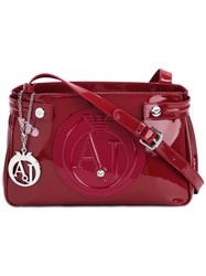 Armani Jeans Logo Embossed Crossbody Bag Red