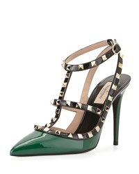 Valentino Rockstud Patent Leather Pump Emerald Green Colorblock Women's Size 37B 7B